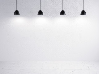brick wall and lamp show, background