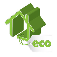 Green building concept, green icon