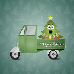 funny Christmas tree in truck