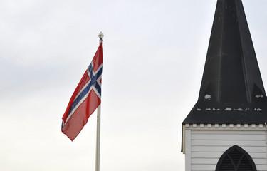 Norwegian flag and Norwegian church