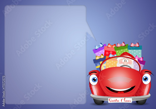 Santa Claus on red car with gifts
