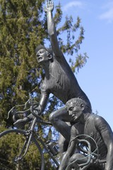 Cycling statue and chapel at Como, lombardy