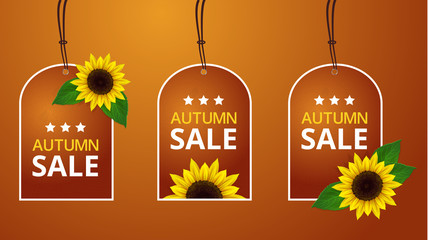 Vector sunflowers autumn price labels