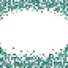 Green abstract pixel art background with blank white space