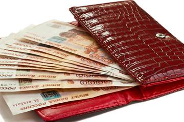 Money in female purse