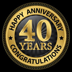 40 years happy anniversary congratulations gold label with ribbo