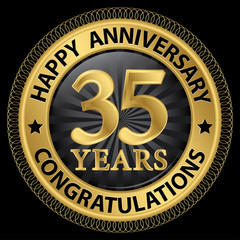35 years happy anniversary congratulations gold label with ribbo
