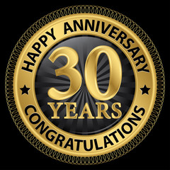 30 years happy anniversary congratulations gold label with ribbo