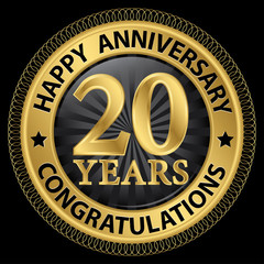 20 years happy anniversary congratulations gold label with ribbo