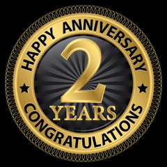 2 years happy anniversary congratulations gold label with ribbon