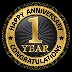 1 year happy anniversary congratulations gold label with ribbon,