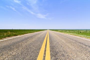 Flat open road in Colorado