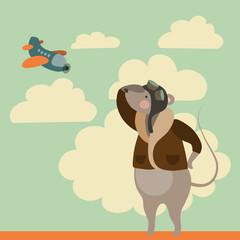 Cartoon mouse in pilot uniform