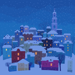 Small town in winter twilight