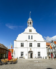 famous historic town hall facade in Wolgast