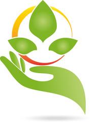 Logo, Hand, Blätter, Heilpraktiker