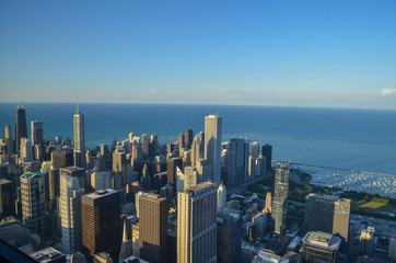 Chicago city and lake michigan