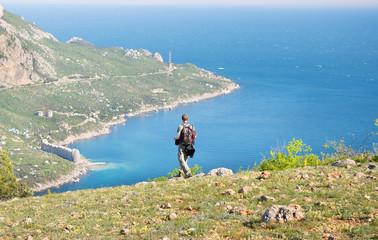 Tourist on the mountain