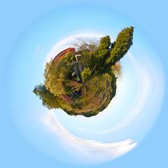 Casa con alberi - globo - pianeta terra