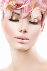 Face of Fashion Beauty Model Girl with Orchid Flowers Hair