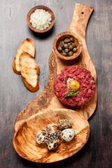 Beef tartare with capers, egg and onion