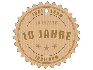 je10 JubiläumsEtikett 10 - vintagedesign - 10 Jahre - g1910