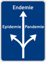 Schild: Epidemie - Endemie - Pandemie
