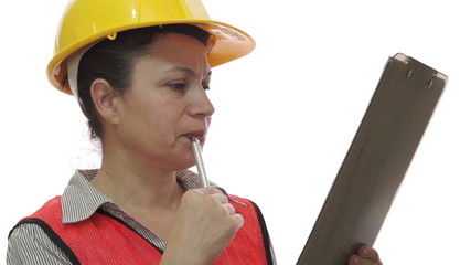 Woman Worker Checking with Clipboard