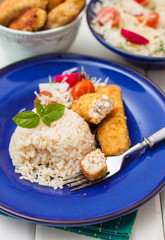 turkey cutlet with rice and vegetables