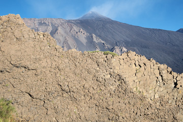 Rockface And Etna Summit Crater, Sicily