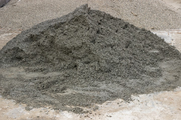 pile of concrete for tile paving