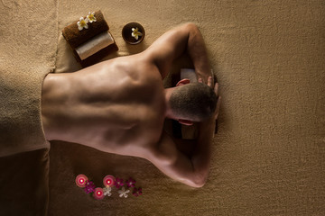 Men is ready for massage