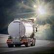 White tanker truck on the highway. - 71377390