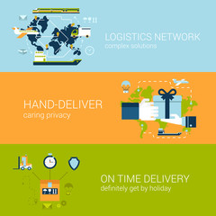Logistics delivery concept flat web banners template set