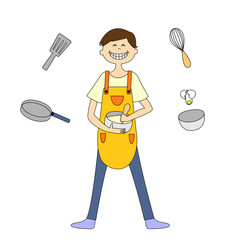 A young man cooking, several cooking tools