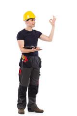 Mechanic showing ok sign