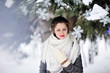 Outdoor fashion portrait of pretty young girl in winter