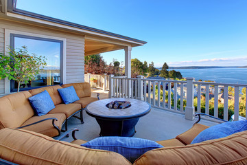 Cozy patio area with Puget Sound view. Tacoma, WA