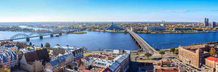 Riga panorama view looking over all bridges