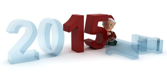 3D Render celebrating new years