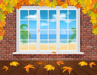 autumn wall and summer window