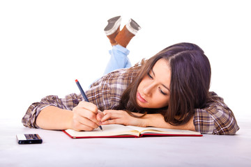 Beautiful female student studying