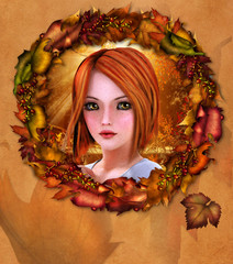 Portrait of redhead girl adorned with autumn wreath