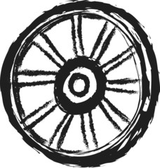doodle old wooden wheel