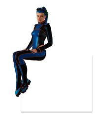 Futuristic girl in skin-tight coverall