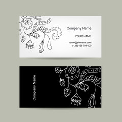 Business card template for your design. Floral background