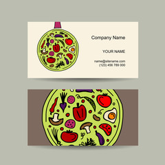 Pan with vegetables. Business card design