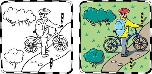 Cyclist with a bike.