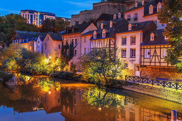A view of a Luxembourg buildings in the dusk, Luxembourg