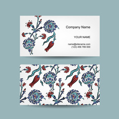 Set of business cards design, turkish ornament
